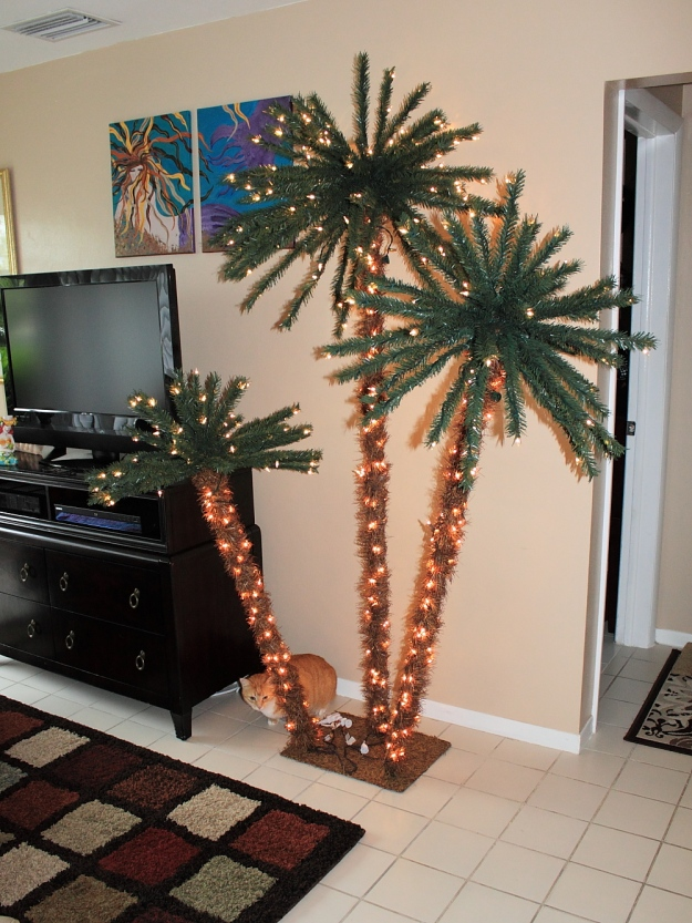 Bad Cat Chris with our palm tree Christmas Tree