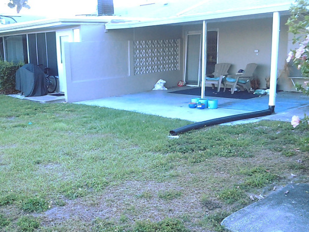 This is what our patio looked like when we first saw it. To the left was the unit that was listed by mistake.