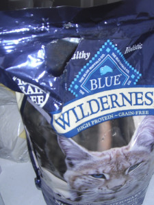Blue wilderness chewed up catfood bag