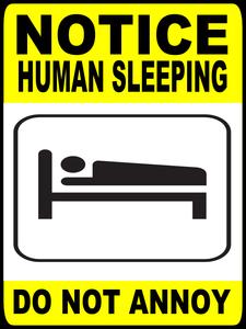 Human sleeping sign