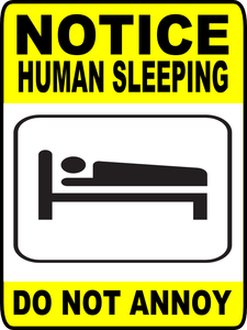 Human sleeping sign